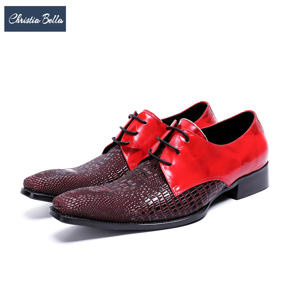 Christia Bella 2018 Fashion Wedding Men Oxford Shoes Square Toe Real Leather Dress Shoes Lace Up Business Formal Brogue Shoes