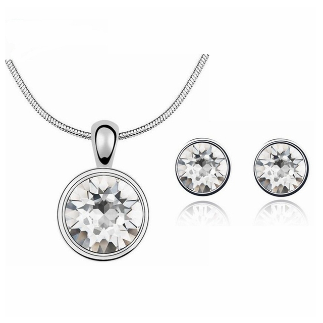 Exclusive classic women jewelry set round crystal pendants necklaces exclusive classic women jewelry set round crystal pendants necklaces earring sets lady bijouterie crystal from swarovski mozeypictures Gallery