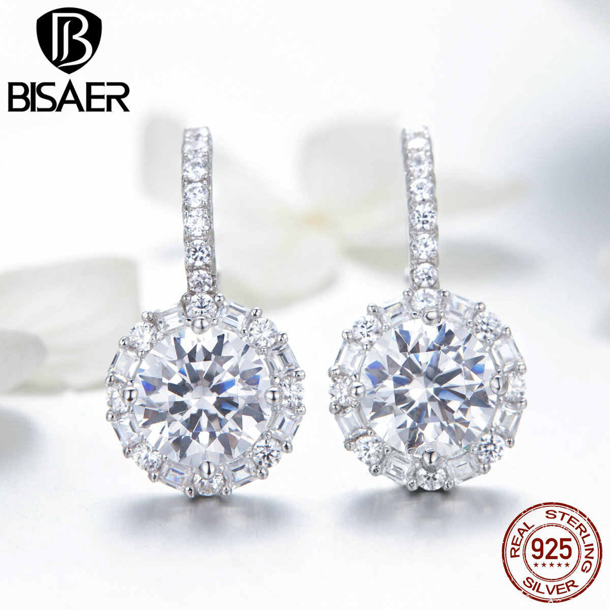 BISAER Classic 925 Sterling Silver Round Zircon Earrings Simple Circle CZ Stud Earrings for Women Wedding Jewelry ECE508