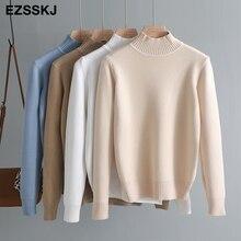 Корейский стиль свободный свитер женский пуловер Повседневный Половина Водолазка длинный рукав вязаный свитер женские джемперы однотонный базовый свитер