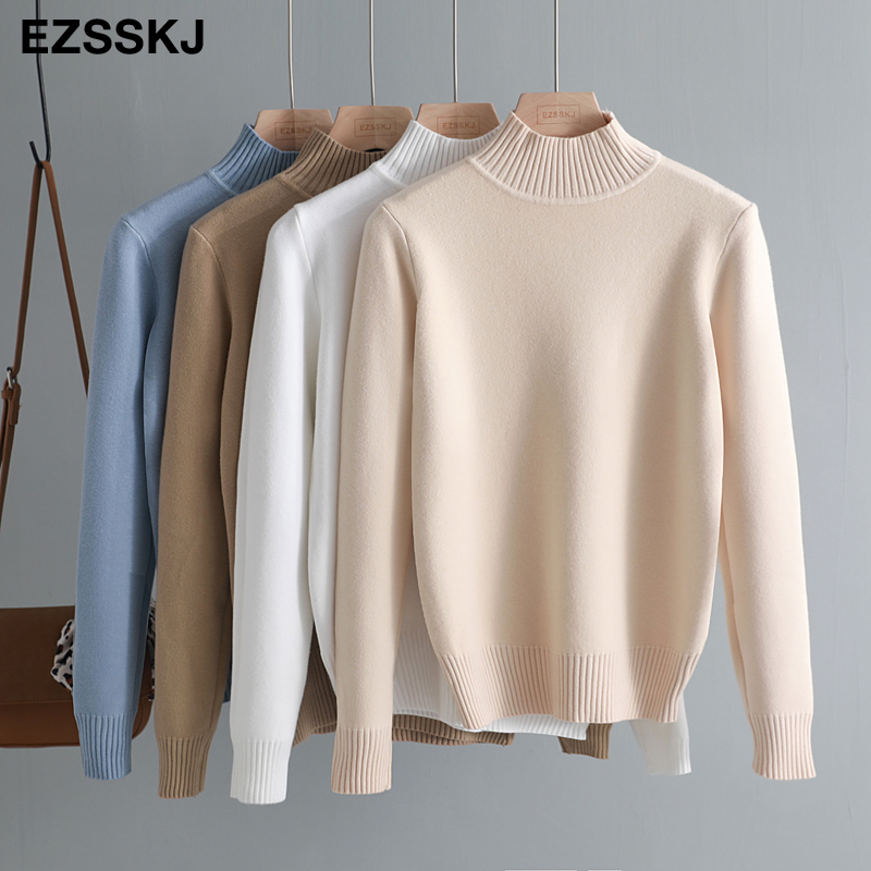 Korean Style Loose Sweater Women Pullover Casual Half Turtleneck Long Sleeve Knit Sweater Female Jumpers solid