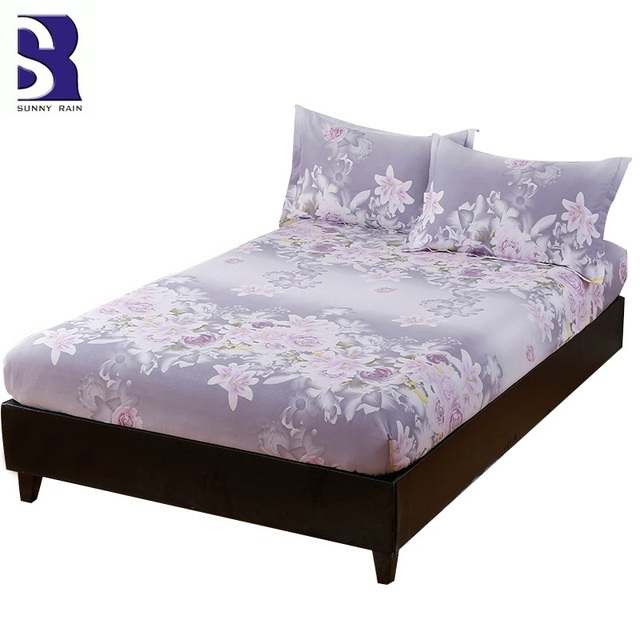 SunnyRain 3 Piece 100% Cotton Fitted Bed Sheet Pillow Case Set Queen Size  Bedding