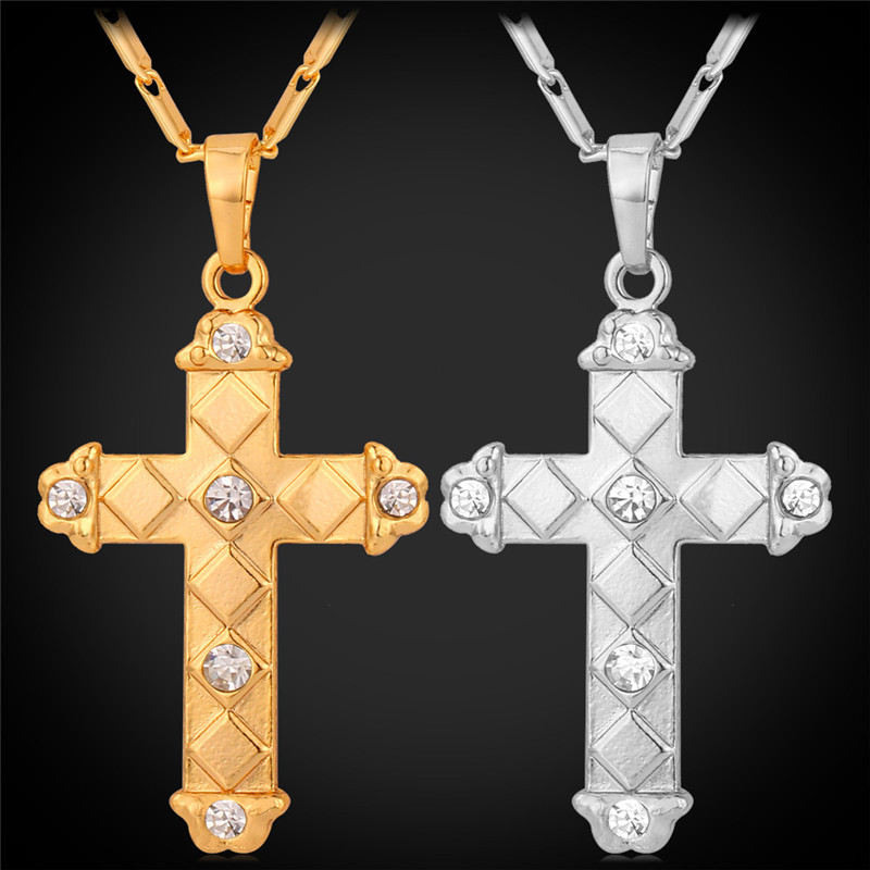 Cross Pendant Necklaces yellow Gold/Silver Color Crystal ...