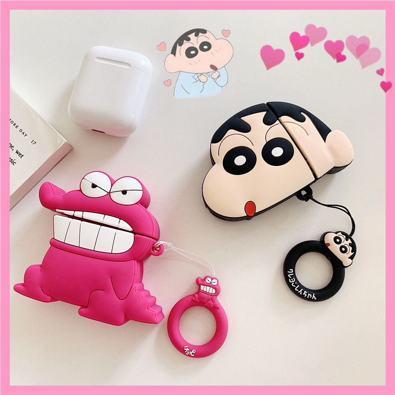 3D Cute TOHATO Cartoon Crocodile Crayon Shinnosuke Nohara Silicones Case For AirPods 2 Case Bluetooth Anti-fall Earphone Cover