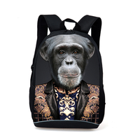 Fashion Personality Backpack 3D Zoo Tiger Wolf Leopard Print Juvenile Schoolbag Men Leisure Travel Bag Women