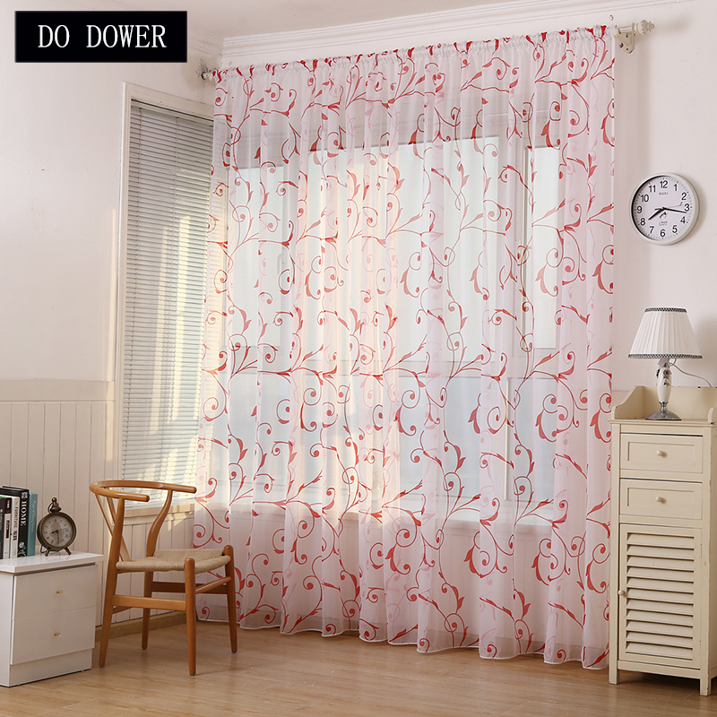 Floral Window Cortinas Fabric Sheer Tulle Curtains For Living Room Children Bedroom Kitchen Door Curtains Home Decor