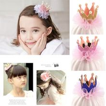 Baby Hair Accessories Children Kidds Girl Lace Pearl Princess Crown Hairpin Clip Decoration Gift Accessory недорого