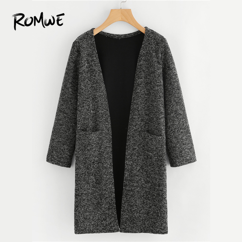 ROMWE Black Dual Pocket Long Knit Cardigan Casual Autumn Round Neck Long Sleeve Women Clothes Spring Fashion Longline Sweater