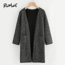 ROMWE Black Dual Pocket Long Knit Cardigan Casual Autumn Round Neck Long Sleeve Women Clothes Spring Fashion Longline Sweater