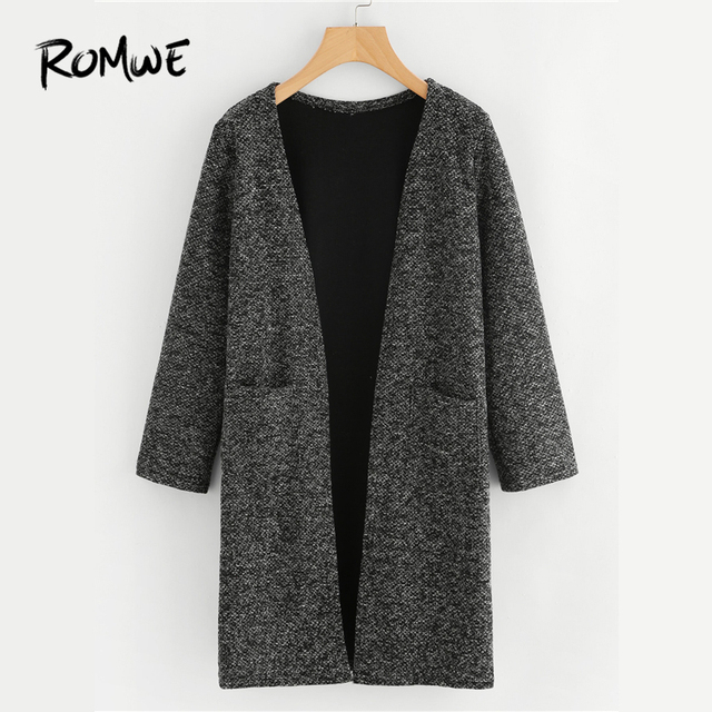 ROMWE Black Dual Pocket Long Knit Cardigan Casual Autumn Round Neck Long  Sleeve Women Clothes Spring cc6084f9b