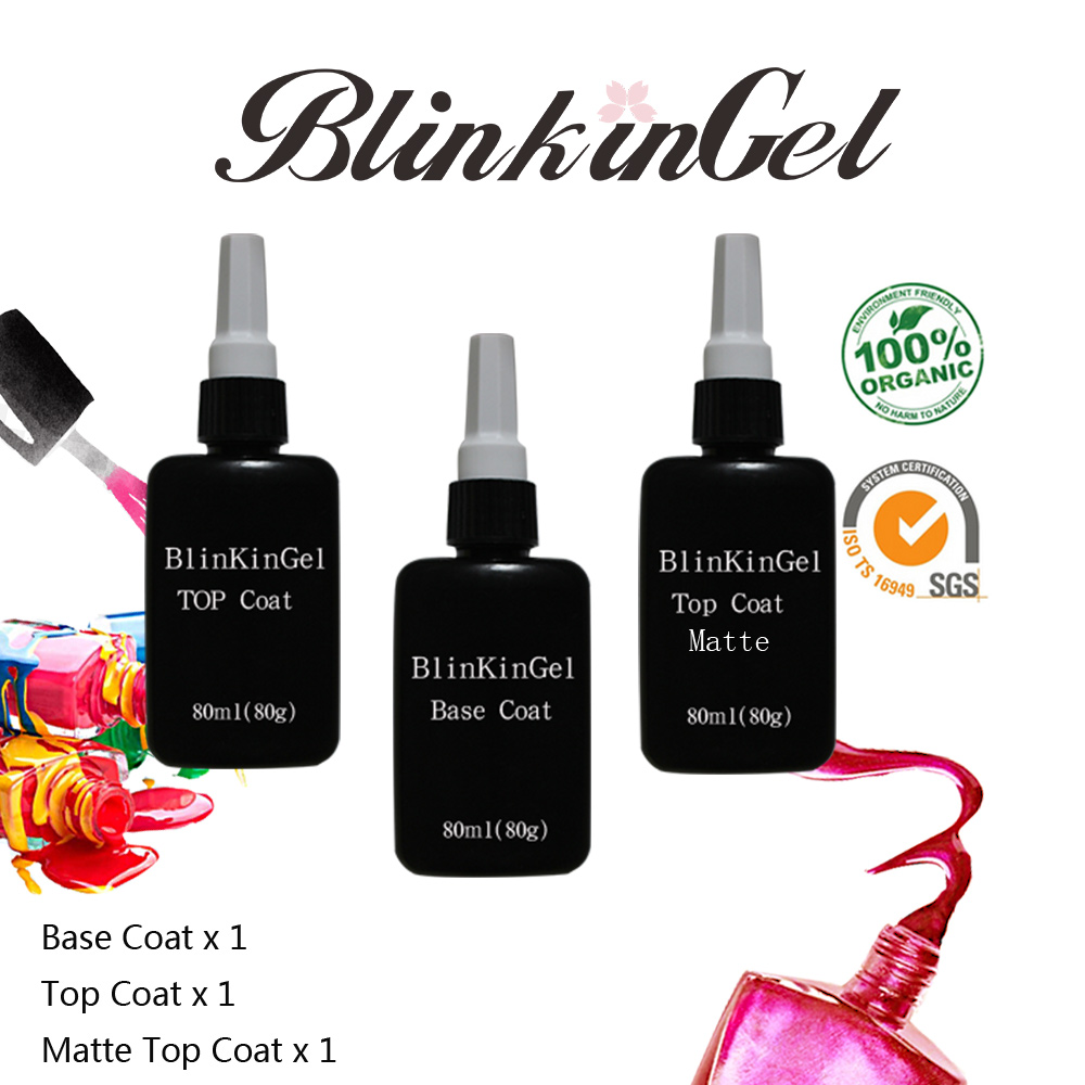 BlinkinGel 80 ml Pas Essuyer Mat Soak Off Top Coat Sans Gel UV Couche de Base Transparente Permanent Nail Set Polonais pour Nail Gel Art