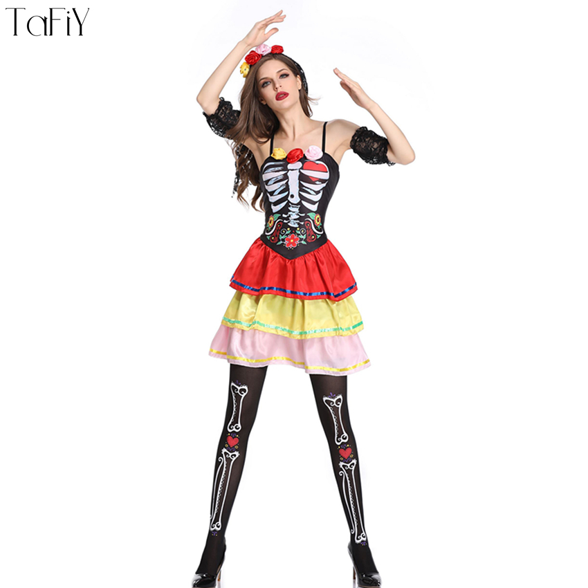 2fe4bb1f8c7 US $68.0 |TaFiY 2018 Sexy Zombie Cosplay Ghost Bride Women Halloween  Costumes Sexy Skull Flower Fairy Halloween Ghost Witch Bride Dress-in  Holidays ...
