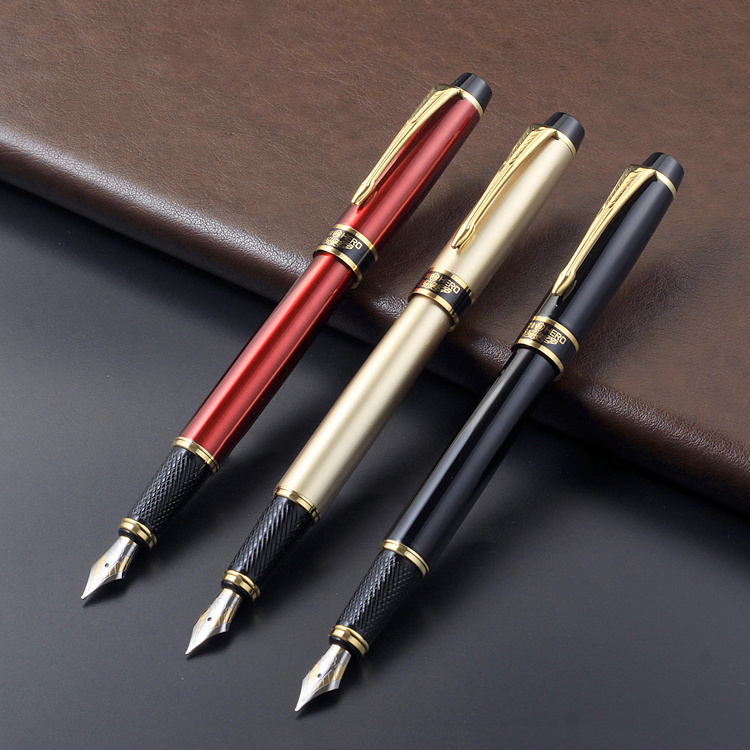 Silver Clip Hero 0.5mm Fountain Pen Rollerball and 0.8mm Bent Nib Gift Set Black Red Gold for Choose Business Office Gift 6203 black business metal fountain pen nib medium gold trim arrow clip school supplies hot