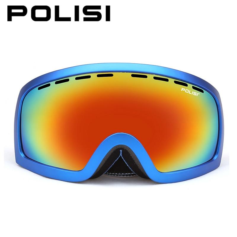 POLISI Professional Snowboard Goggles Polarized Double Layer Anti-Fog Lens Ski Glasses Winter Outdoor Mountaineering Eyewear