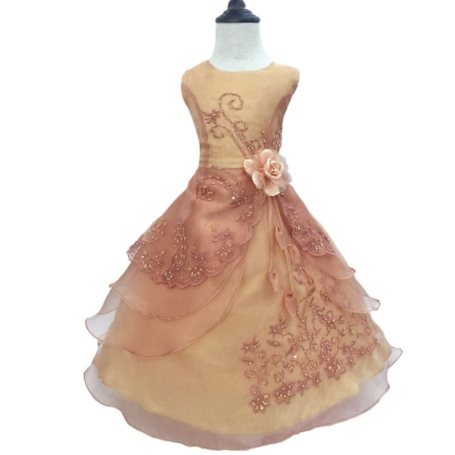 91ae68bd37482 HG Princess 2 14 Years Girl Party Dress 2017 New Design Formal Ball Gown  Organza Embroidery Beading Gold Kids Dresses For Girls-in Flower Girl  Dresses ...