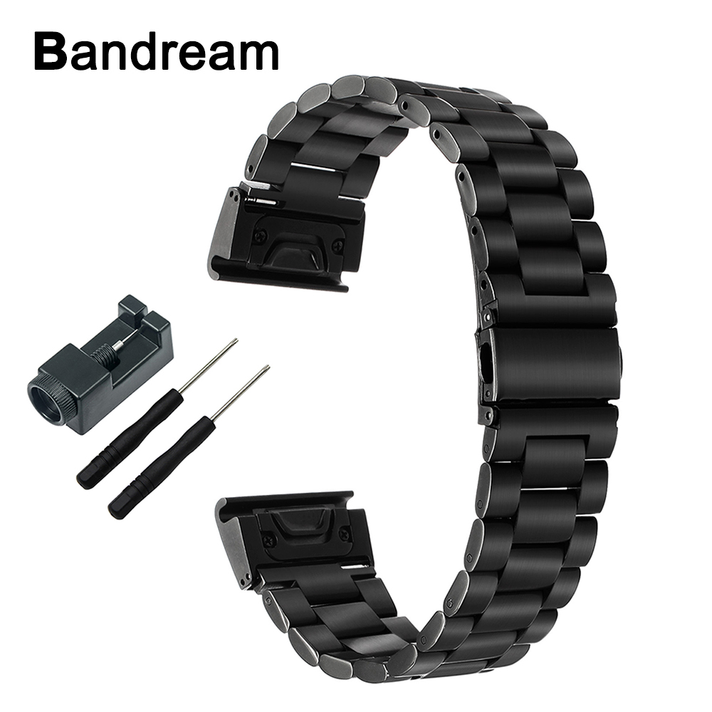 Quick Easy Fit Stainless Steel Watchband 26mm +Tool for Garmin Fenix 5X/5X Sapphire/3/3HR Watch Band Wrist Strap Link Bracelet 22mm woven nylon strap replacement quick release easy fit band for garmin fenix 5 forerunner935 approach s60