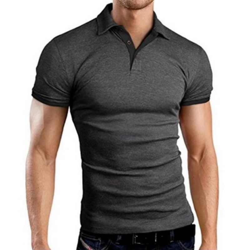 Oeak Men New Summer Solid Color Short Sleeve Turn-over Collar Fashion Polo Shirts Slim Fit Casual Business Breathable Polo Shirt