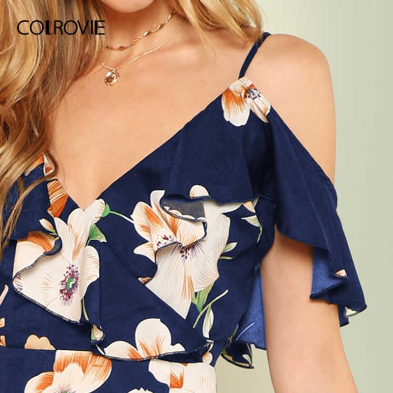 COLROVIE Flounce Marinha Cold Shoulder Ruffle Hem Floral Impressão Boho Vestido Curto Mulheres Verão 2019 Férias de Férias Vestidos de Deslizamento