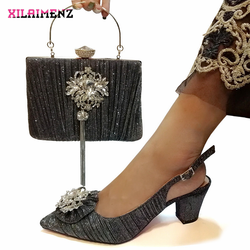 Image 3 - Pink Color Nigerian Sandals with Matching Bag for Woman Pointed  Toe Shoes and Purse Set High Quality with Crystal for PartyWomens  Pumps