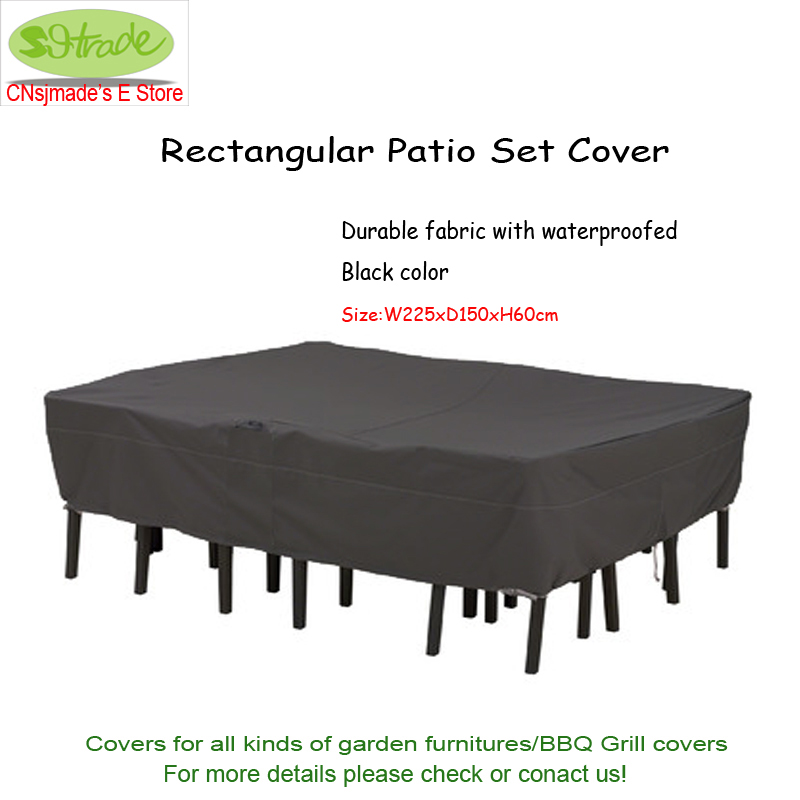 Premium rectangular patio set cover 225x150x60cm , Black color, waterproofed Durable Oxford fabric ,Free shipping