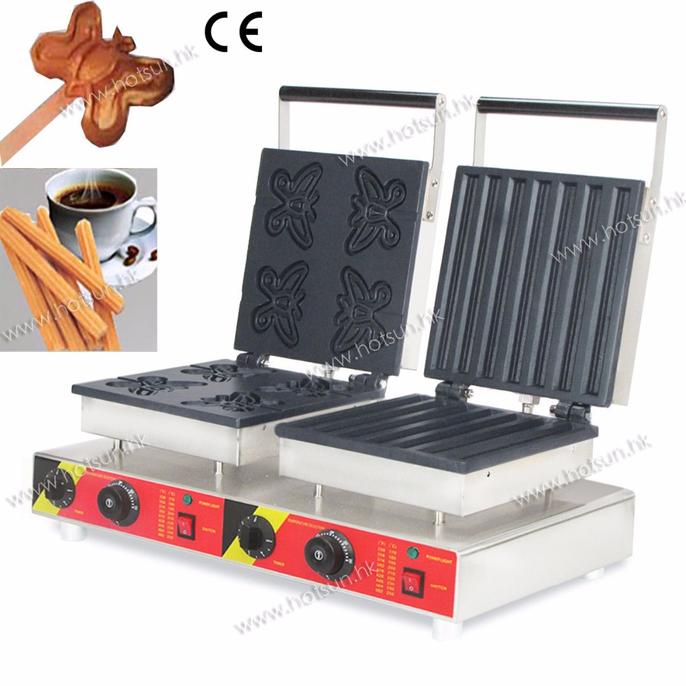 Commercial 110V 220V Electric Double Churros Machine +  Butterfly Lolly Waffle Iron Maker Machine