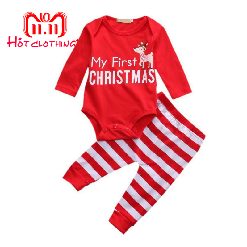 Christmas Long Sleeve Baby Rompers + Striped Pants Newborn Baby Girls Boys Clothes Cartoon Baby Sets Cotton Clothing 0-18M christmas newborn baby boys girls new letter romper fashion long sleeve cartoon snowman jumpsuit baby casual cotton rompers