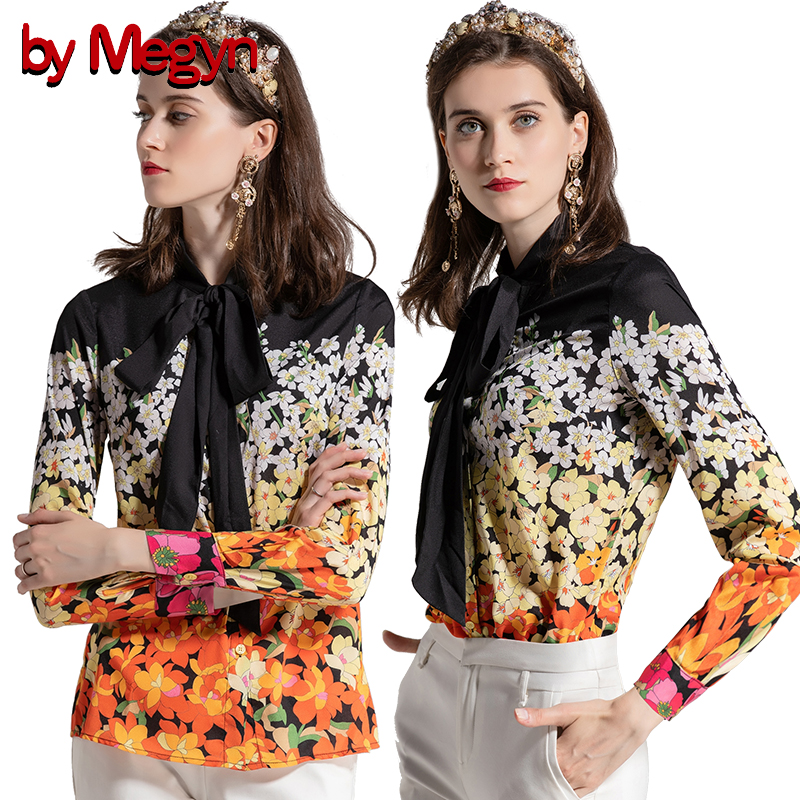 by Megyn blusas femininas 2018 fashion floral print long sleeve woman blouses plus size womens tops and femme