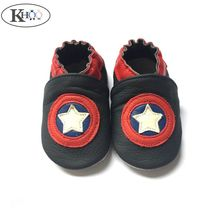 Captain America Soft Leather Baby Boys Shoes Non-slip Baby Boys Girls Infant Shoes Slippers Moccasin Shoes First Walkers(China)