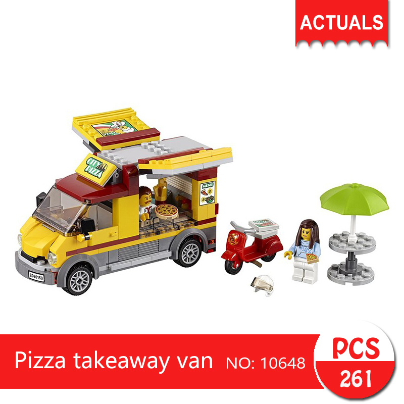 Lepin bela 10648 261Pcs City series Pizza takeaway van Model Building Blocks Set  Bricks Toys For Children wange Gift 1713 city swat series military fighter policeman building bricks compatible lepin city toys for children lepin kazi bela sluban