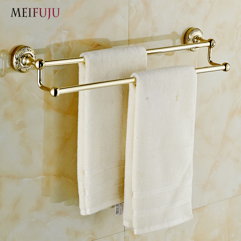 MEIFUJU Wall mounted Double Towel Bar Golden Finishing Towel Holder Towel rack Solid Brass Free Shipping Bath Products Bathroom free shipping wall mounted space aluminum black golden paper towel shelf phone toilet paper holder