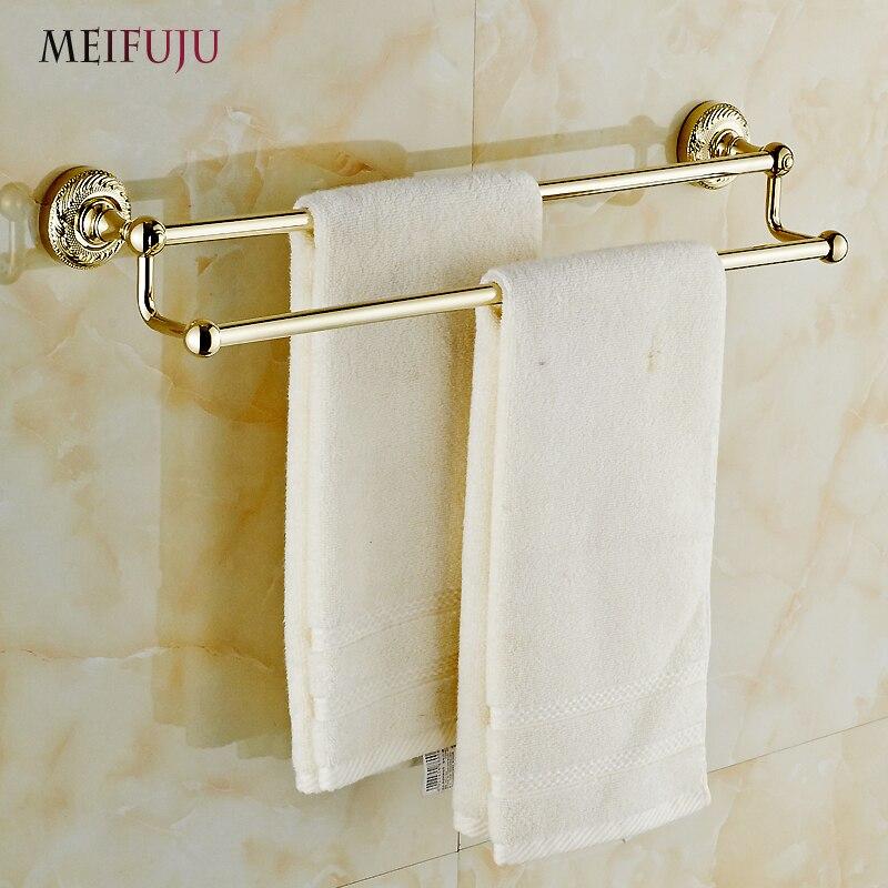 Meifuju pared toalla doble barra toallero de oro acabado latón macizo free grati