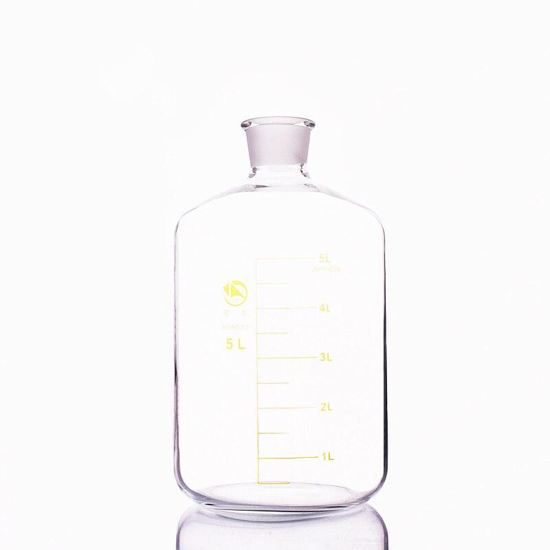 Serum bottle,Borosilicate glass 3.3,Capacity 5000ml,13# bottle mouth,Reagent bottle,Graduation Sample Vials Lid