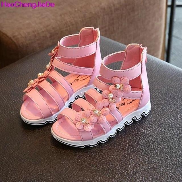 cb008b67c Niñas Sandalias De Gladiador Verano de Los Cabritos Niños Sandalia Flores  De Goma De Goma Zapatos
