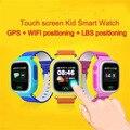 Frete Grátis Q90 Telefone GPS Posicionamento Crianças Da Forma do Relógio de 1.22 Polegada cor wifi touch screen sos smart watch pk q80 q50 q60