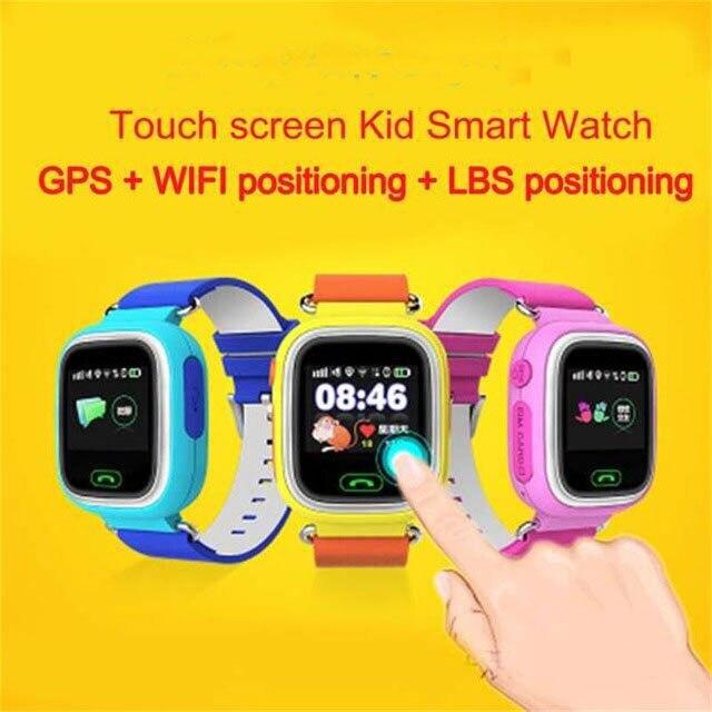 imágenes para Q90 liberan el Envío GPS de Posicionamiento Del Teléfono Niños La Moda Del Reloj de 1.22 Pulgadas Color SOS Reloj Inteligente de Pantalla Táctil WIFI PK Q80 Q50 Q60
