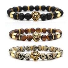 Тигровый глаз любовь Лев Мода четки Лава бусина, натуральный камень мужские браслеты и браслеты Йога браслет для женщин ювелирные изделия