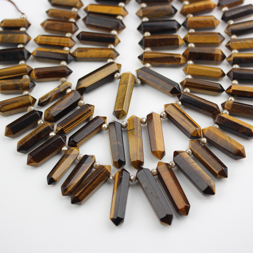 High Quality Natural Tiger Eye Stones Sticks Beads Top Drilled Polished Raw Gems Double Points Beads