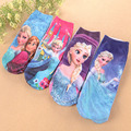 4pairs/lot  cotton children cartoon socks girls kids  Princess Elsa 3D printed Brand ankle socks