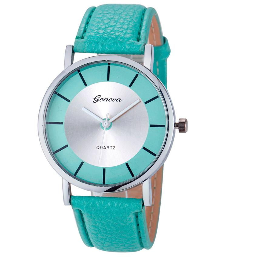 Vintage Women Watches Luxury New Geneva Women Fashion Retro Dial Leather Analog Quartz Wrist Watches Mint-Green Women Clock 50p