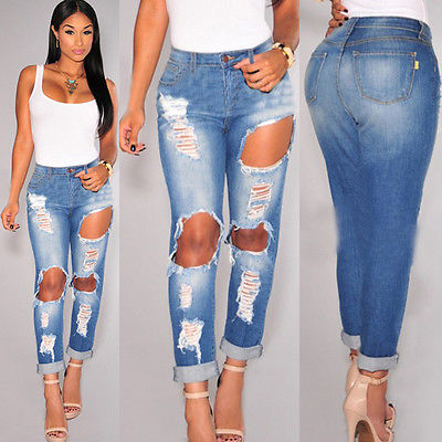 Women High Waist Jeans Woman Knee Skinny Pencil Plain Stretch ...