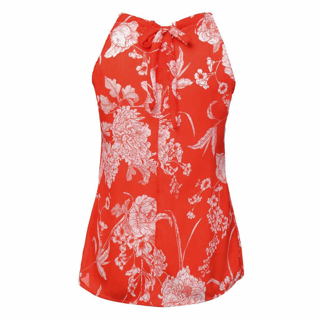Женский модный Повседневный Топ без рукавов с цветочным принтом и бретельками на шее, Красный Розовый Топ, повседневный летний женский топ на бретельках, Blusas Camisa