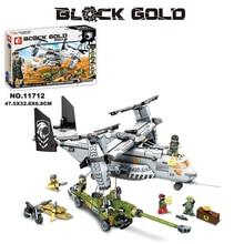 2017 New 11712 640Pcs Swat Team Figures Black Gold Helicopter Fighter Model Building Kit Blocks Bricks DIY Toy For Children Gift