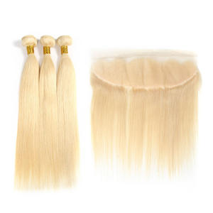Human-Hair Closure 28inch-Bundles Brazilian Straight Links with 3PC And 8-30-613 Blonde
