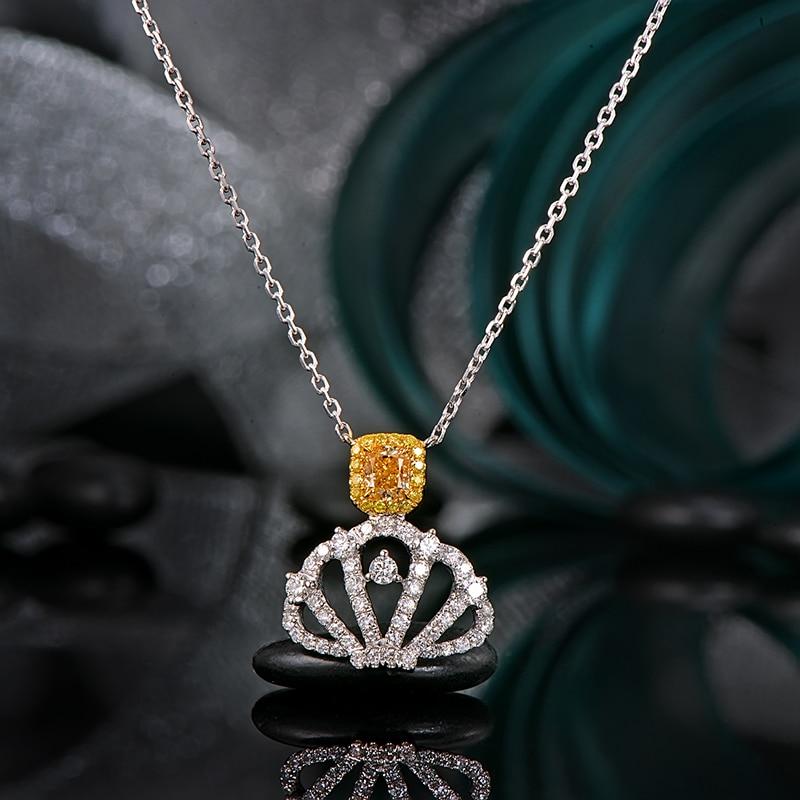 цена на Superior 0.71ctw Cushion Yellow Diamond and Round Cut Diamond 18k White & Yellow Gold Pendant Jewelry