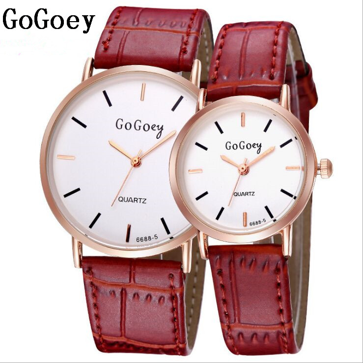 2 Pcs Luxury Gogoey Brand Leather Pair Watches Men Women Lover Couple Fashion Dress Quartz Wristwatches 6688-5