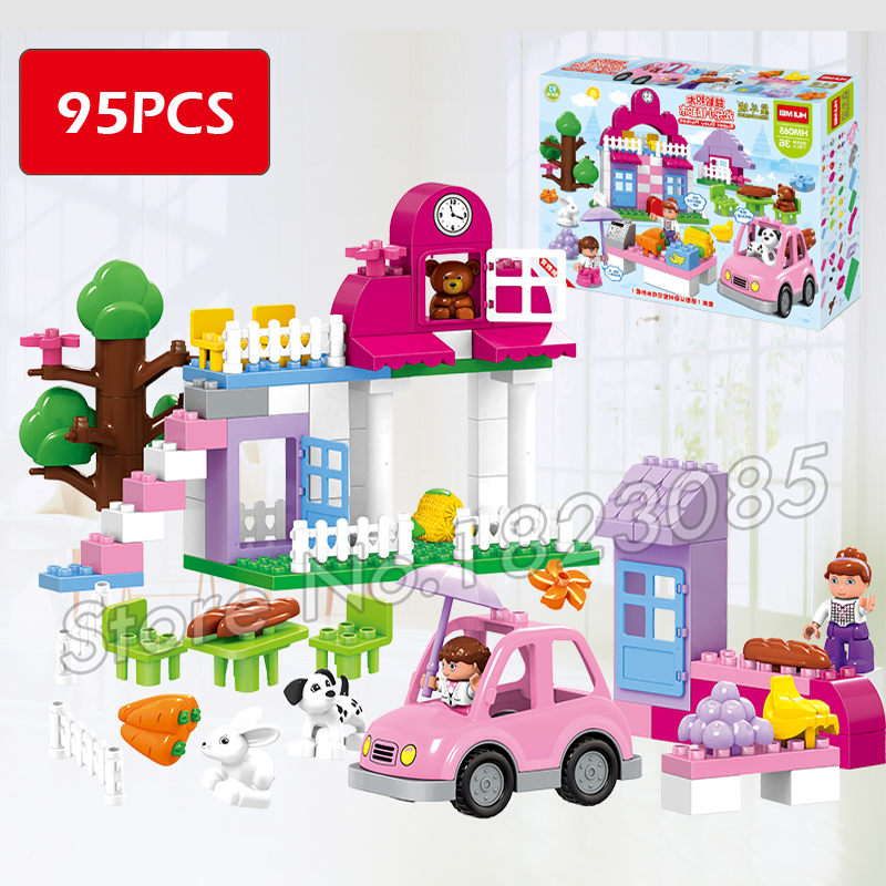 95pcs Big Size Princess Collection Super Busy Market Model Building Blocks Bricks Kid Gift Compatible With lego Duplo lepin 02012 city deepwater exploration vessel 60095 building blocks policeman toys children compatible with lego gift kid sets