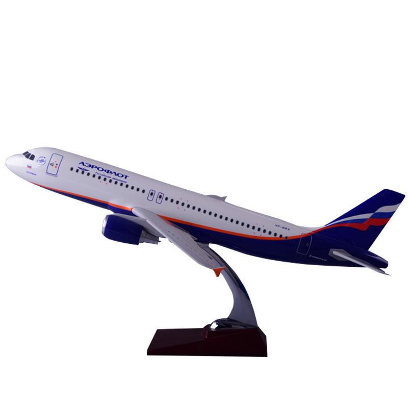47cm Resin Russia Airlines Airbus Model A320 Aircrafts Aeroflot Airways Airplane Model Russia A320 Plane International Aviation new phoenix 11207 b777 300er pk gii 1 400 skyteam aviation indonesia commercial jetliners plane model hobby