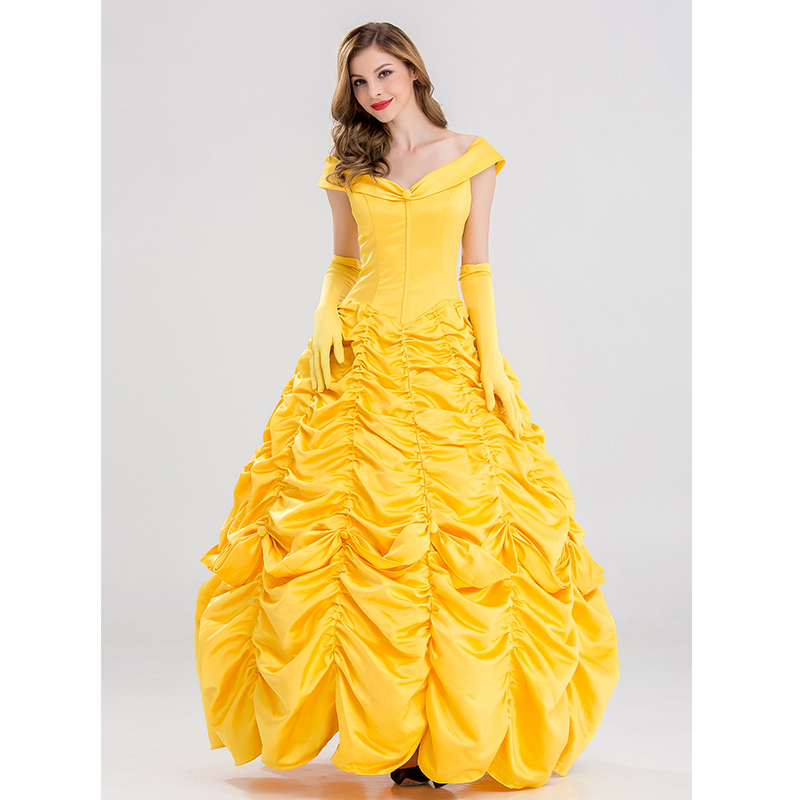 Halloween Beauty Beast Costumes for Women Fairy Adult Princess Belle Cosplay Costume Party Evening Dress Adult Costumes