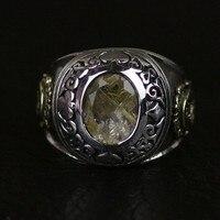 Новое кольцо с желтым кристаллом серебряное кольцо
