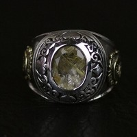 new yellow crystal ring Silver Silver Ring Ring